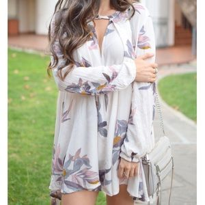 Free People Electric Orchid Print Floral Tunic